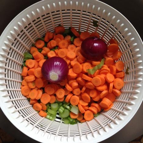 Vegetables in colander